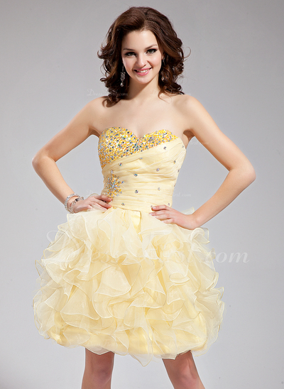 A-Line/Princess Sweetheart Short/Mini Organza Homecoming Dress With Beading Cascading Ruffles (022021304)