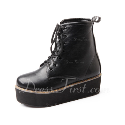 Leatherette Wedge Heel Ankle Boots shoes (088054397)