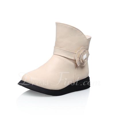 Suni deri Düz Topuk Ayak bileği Boots Ile Çiçek ayakkabı (088056553)