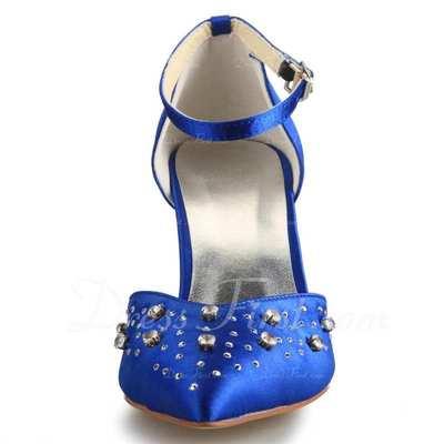 Women's Satin Stiletto Heel Closed Toe Pumps With Buckle Rhinestone (047056189)
