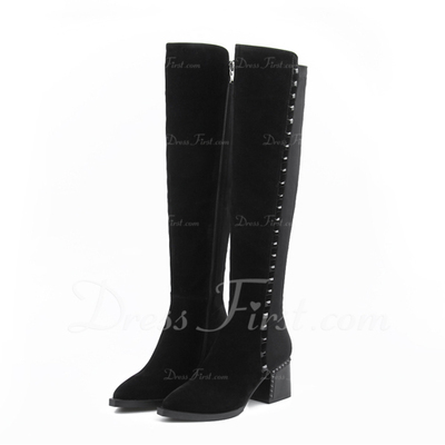 Süet Kalın Topuk Diz Yüksek Boots ayakkabı (088056323)