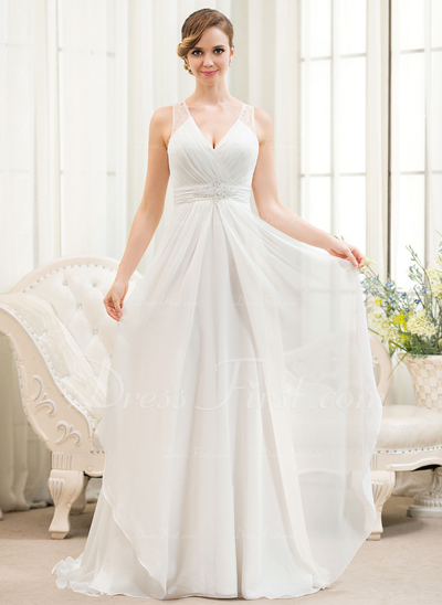 A-Line/Princess V-neck Sweep Train Chiffon Wedding Dress With Beading Sequins Cascading Ruffles (002054621)
