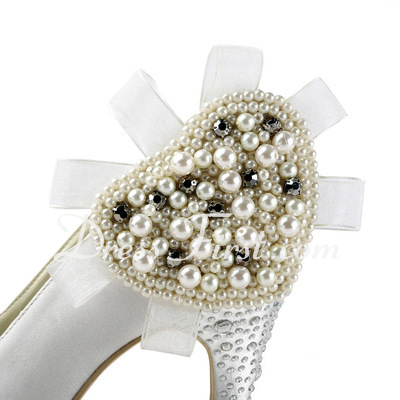 Women's Satin Cone Heel Closed Toe Platform Pumps With Imitation Pearl Rhinestone (047011805)