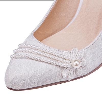 Kadın Lace İnce Topuk Kapalı Toe Pompalar Ile Çiçek (047056249)