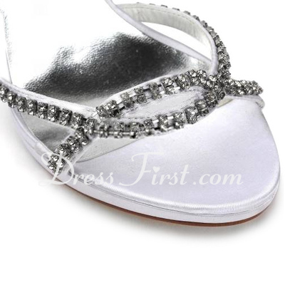 Women's Satin Stiletto Heel Platform Sandals With Rhinestone (047011823)