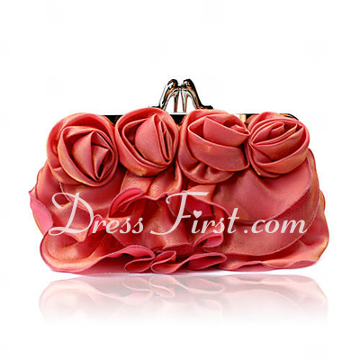Charming Satin With Flower Clutches (012026225)