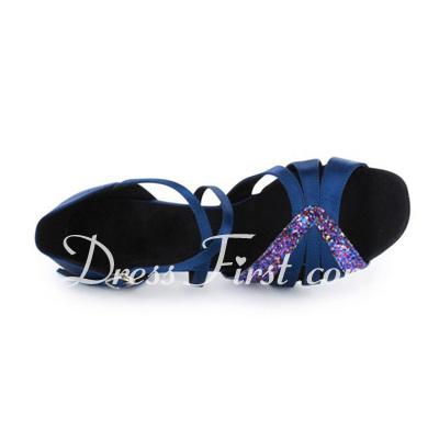 Women's Satin Sparkling Glitter Heels Sandals Latin Dance Shoes (053020373)