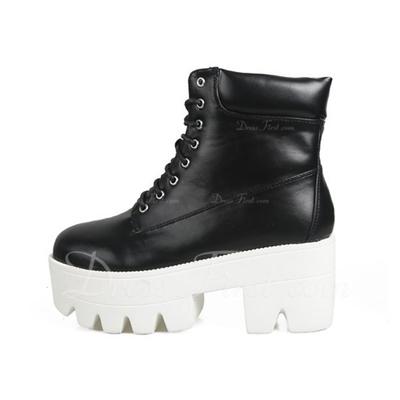 Suni deri Kalın Topuk Platform Ayak bileği Boots Ile Bağcıklı ayakkabı (088056646)