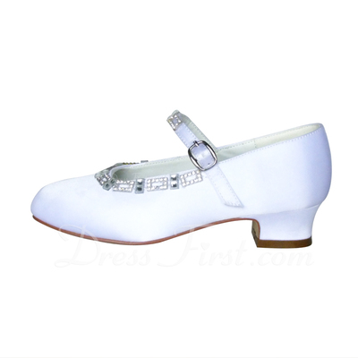 Women's Satin Chunky Heel Closed Toe Platform Pumps With Rhinestone (047057143)