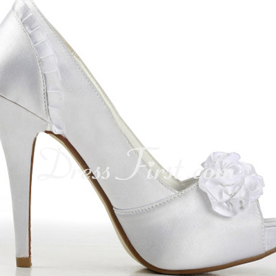 Women's Satin Stiletto Heel Peep Toe Platform Sandals With Satin Flower (047011826)