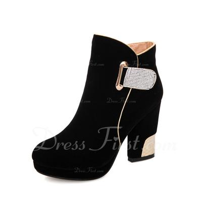 Süet Kalın Topuk Ayak bileği Boots Ile Yapay elmas ayakkabı (088057314)