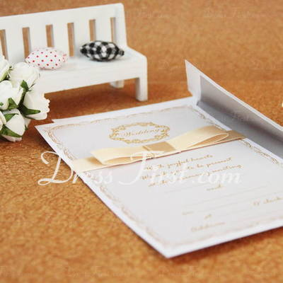 Classic Style Flat Card Invitation Cards With Ribbons (Set of 50) (114030729)