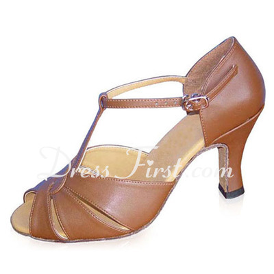 Women's Real Leather Heels Sandals Latin With T-Strap Dance Shoes (053022350)