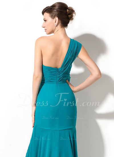 Trumpet/Mermaid One-Shoulder Asymmetrical Chiffon Holiday Dress With Beading Sequins Cascading Ruffles (020050395)