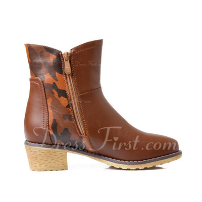Leatherette Chunky Heel Ankle Boots With Zipper shoes (088054626)