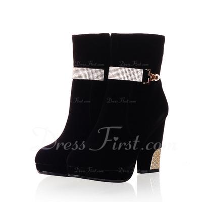 Süet Kalın Topuk Ayak bileği Boots Ile Yapay elmas ayakkabı (088057315)