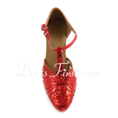 Women's Leatherette Sparkling Glitter Heels Pumps Modern With T-Strap Dance Shoes (053012237)
