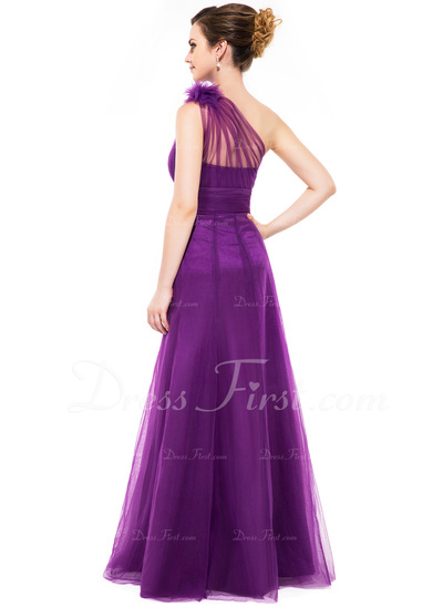 A-Line/Princess One-Shoulder Floor-Length Tulle Bridesmaid Dress With Ruffle Flower(s) (007051140)