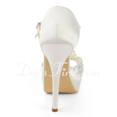 Women's Satin Stiletto Heel Platform Sandals With Imitation Pearl Rhinestone (047011804)