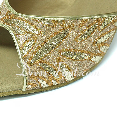Women's Sparkling Glitter Heels Sandals Latin With Ankle Strap Dance Shoes (053013449)