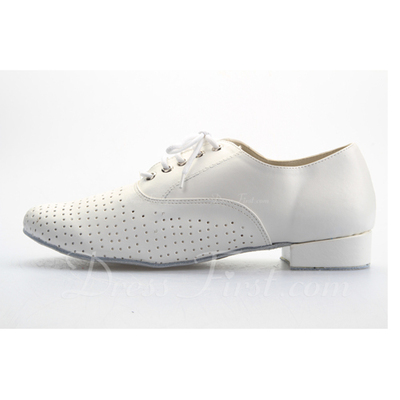 Men's Real Leather Heels Latin Ballroom Practice Character Shoes With Lace-up Dance Shoes (053056029)
