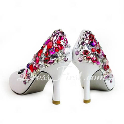 Women's Leatherette Stiletto Heel Closed Toe Pumps With Rhinestone (047011809)