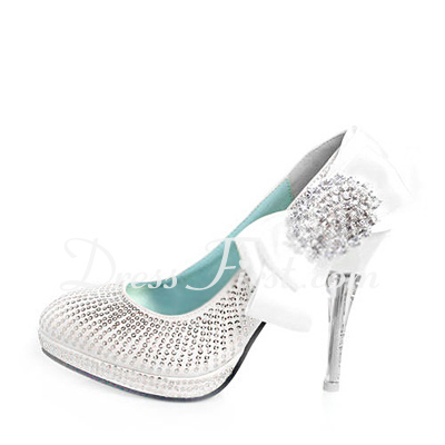 Women's Leatherette Stiletto Heel Closed Toe Pumps With Bowknot Rhinestone Sequin (047011870)