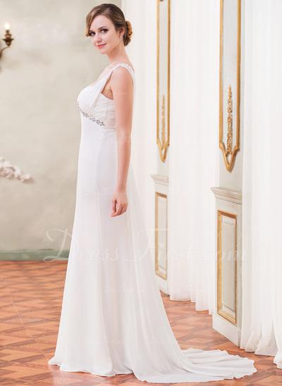 Trumpet/Mermaid Sweetheart Watteau Train Chiffon Wedding Dress With Ruffle Lace Beading Sequins (002050418)