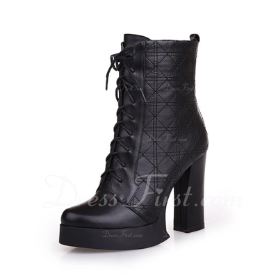 Real Leather Chunky Heel Ankle Boots With Lace-up shoes (088056313)