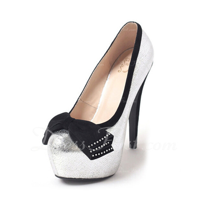 Leatherette Stiletto Heel Pumps Platform Closed Toe With Bowknot shoes (085054483)