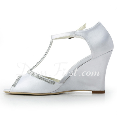 Saten Iğne topuk Peep Toe Takozlar Sandalet Düğün Ayakkabı Boncuklu kısım (047011824)