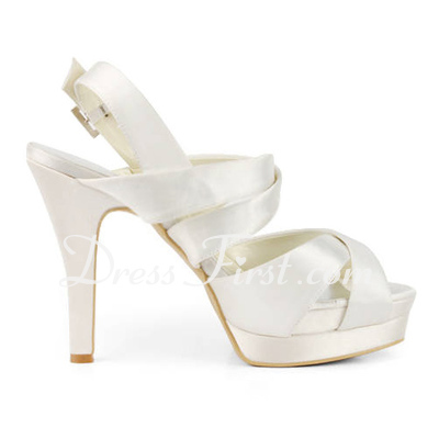 Women's Satin Cone Heel Platform Sandals Slingbacks With Buckle (047011829)