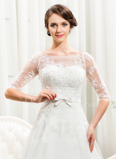 A-Line/Princess Off-the-Shoulder Chapel Train Tulle Lace Wedding Dress With Beading Sequins Bow(s) (002056466)