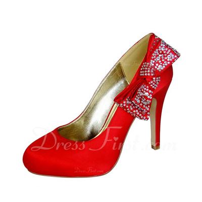 Kadın Satin İnce Topuk Kapalı Toe Ile Ilmek Yapay elmas (047057111)