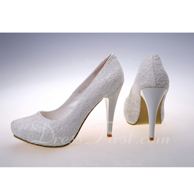 Women's Lace Stiletto Heel Closed Toe Platform Pumps (047057133)