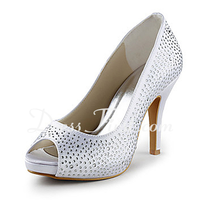 Women's Satin Cone Heel Peep Toe Platform Sandals With Rhinestone (047015218)
