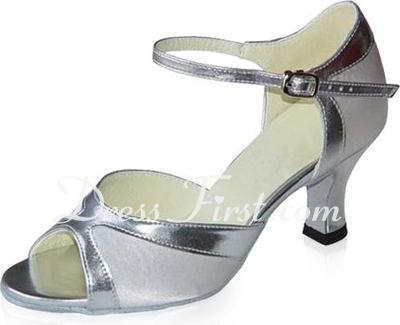 Women's Satin Patent Leather Heels Sandals Latin With Ankle Strap Dance Shoes (053021591)