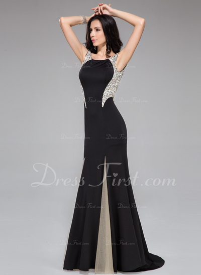 Trumpet/Mermaid Scoop Neck Sweep Train Jersey Prom Dress With Beading Sequins (018044959)