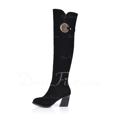 Suede Chunky Heel Knee High Boots With Sequin shoes (088054684)