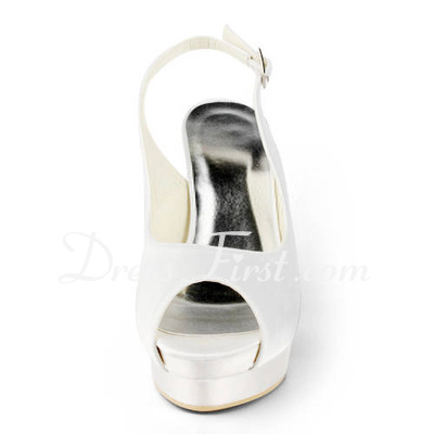 Women's Satin Stiletto Heel Peep Toe Platform Sandals Slingbacks With Buckle (047011849)