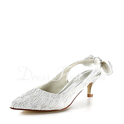 Women's Lace Satin Kitten Heel Closed Toe Pumps Slingbacks With Bowknot Stitching Lace (047015257)