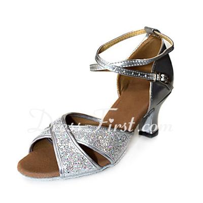 Skóra Sparkling Glitter Obcasy Sandały Łacina Buty do tańca Ankle Strap (053013248)