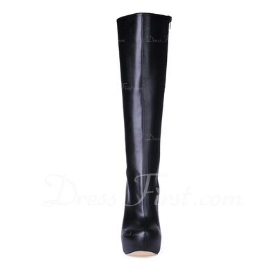 Leatherette Stiletto Heel Platform Boots Knee High Boots shoes (088013830)