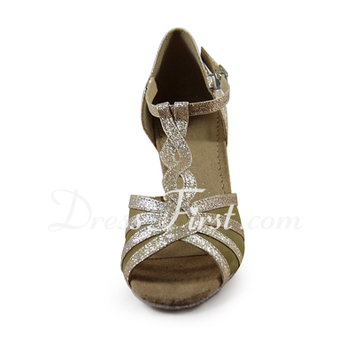 Women's Sparkling Glitter Heels Sandals Latin Ballroom With T-Strap Dance Shoes (053020010)