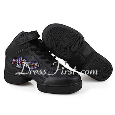 Women's Real Leather Flats Sneakers Practice Dance Shoes (053013142)
