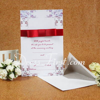 Classic Style Flat Card Invitation Cards With Ribbons (Set of 50) (114030744)