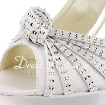 Women's Satin Stiletto Heel Peep Toe Platform Sandals Slingbacks With Buckle Rhinestone (047011846)