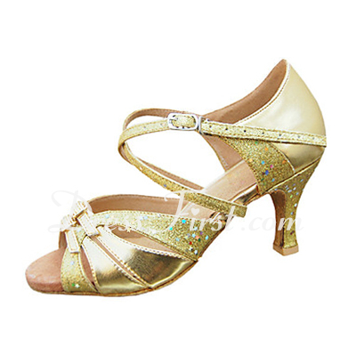 Women's Leatherette Sparkling Glitter Heels Sandals Latin With Buckle Dance Shoes (053013244)