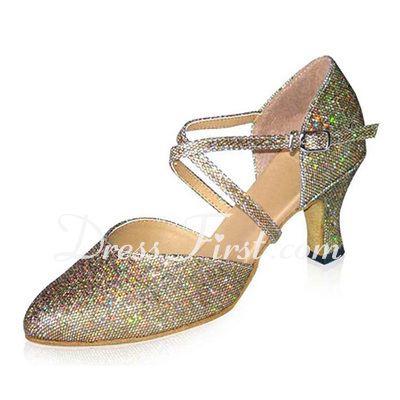 Women's Sparkling Glitter Heels Pumps Ballroom With Ankle Strap Dance Shoes (053021389)