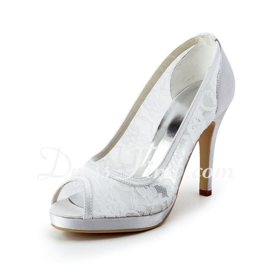 Women's Lace Satin Cone Heel Peep Toe Platform Sandals (047011847)